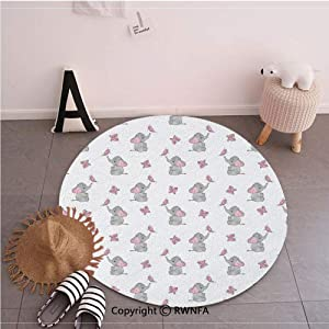 Fashion Round Floor Mats,Baby Elephants Playing with Butterflies Lovely Kids Room Grey Light Pink White,35.4inches,Washable Round Area Mat for Living Room Bedroom