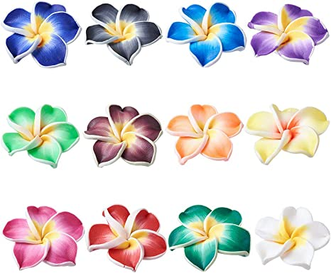 50pcs 15mm Mix Flower Fimo Polymer Clay Spacer Loose Beads DIY Craft Decoration