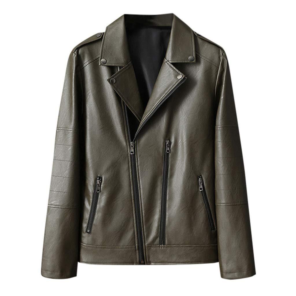 Rucan Tops - Men's Autumn Winter New Retro V-Neck Solid Collar Jacket Pure Long Sleeved Coat (XXL, Green)