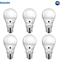 Philips LED Dusk-to-Dawn A19 Frosted Light Bulb: 800-Lumen, 2700-Kelvin, 8-Watt (60-Watt Equivalent), E26 Base, Soft White, 6-Pack