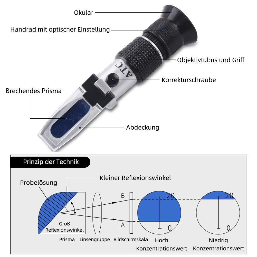 RCYAGO Brix Refraktometer 0-90/% Brix Handheld H/önig Zuckergehalt Test-Tool selbstgebrautes Bier