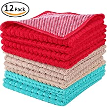 Kleanner SUPER PREMIUM Microfiber Kitchen Dish Towel Cloth With Poly Mesh Scrubber, Size 12 inch x 12 inch, 12-Packs ( Assorted Colors Red/ Brown/ Blue )