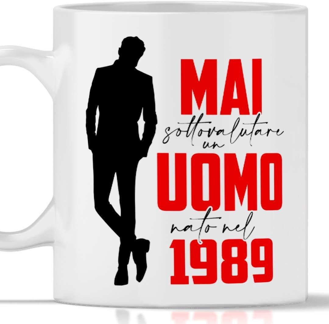 Taza 1989 cumpleaños hombre 32 años Idea de regalo Nunca subestimar un hombre nacido en 1989