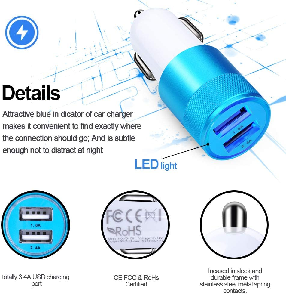 Sixsim 4in1 Type C Car Charger 2.1A Dual Port Wall Charger with 2Pack 6ft USB C Cable Compatible Samsung Galaxy S20 S10 S9 S8 Plus Type C Cable Note 10+ 10 9 8 Charging Block Car Charger Adapter