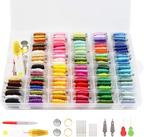 Peirich Embroidery Floss Cross Stitch Threads,104 Colors Friendship Bracelets Floss with Organizer Storage Box Embroidery Thread Bracelet String Embroidery Kit 43 Pcs Cross Stitch Tools