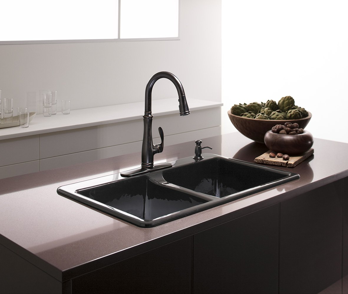kohler k 5873 4 7 deerfield double bowl top mount kitchen sink kohler k 5873 4 7 deerfield double bowl top mount kitchen sink with four hole drillings black black amazon com