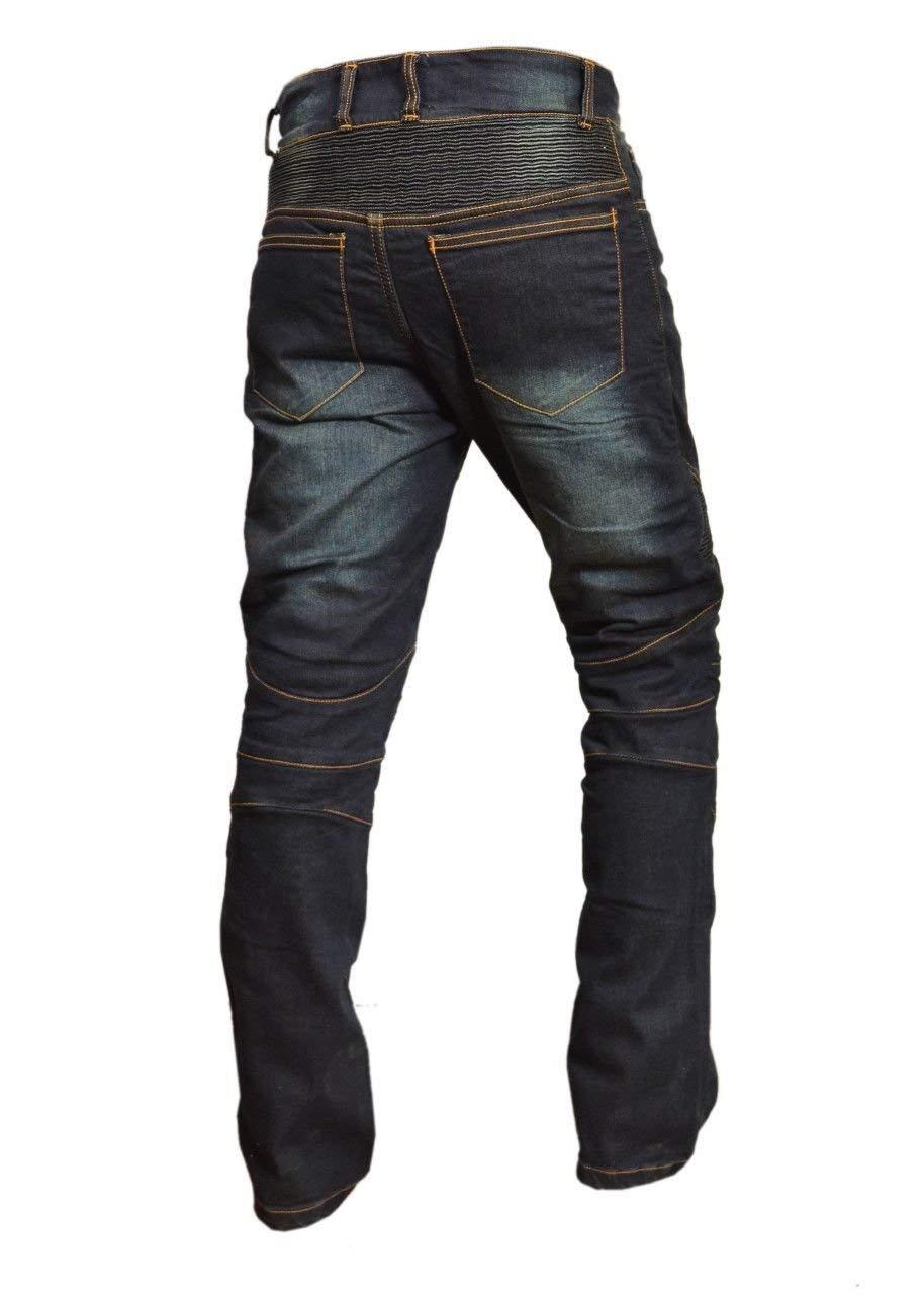 34 inches XTRM Kevlar Mens Denim Jeans Motorbike Motorcycle Rider Biker Protective Aramid Lining CE Armoured Pants Black