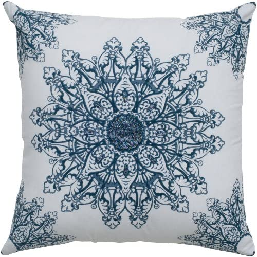 Rizzy Home T05018 Decorative Pillow, 18 X18 , White Blue Blue