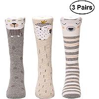 LUOEM 3 Pares de Calcetines hasta la Rodilla del bebé Calcetines de algodón Calcetines de algodón Suave cómodo a la Medida del niño Transpirable