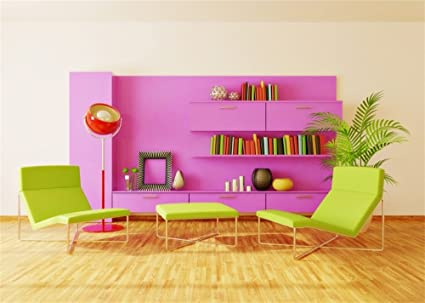Amazon.com : Leowefowa 7X5FT Interior Backdrop Purple Bookshelf ...