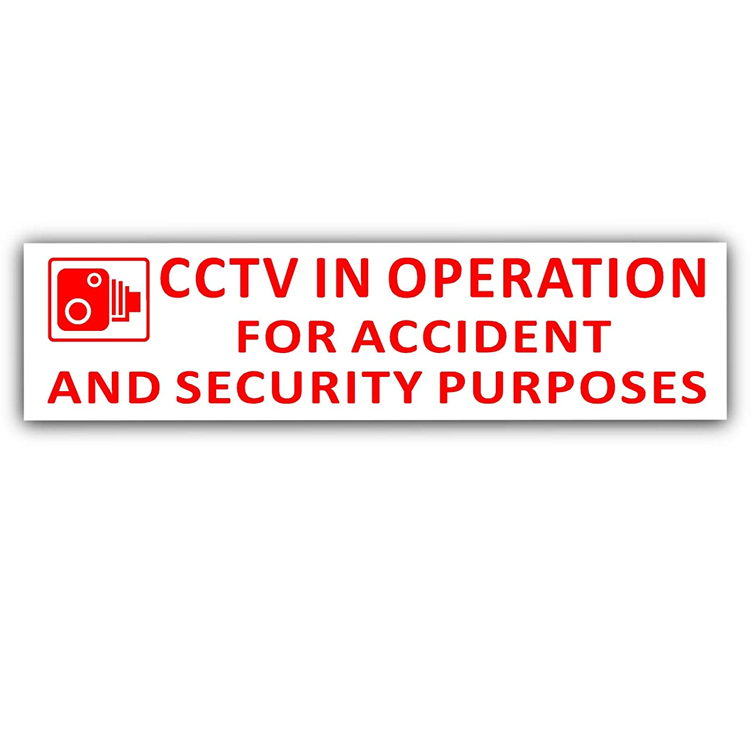 Platinum Place 2 x 200x43mm-EXTERNAL RED ON WHITE-CCTV In Operation for Accident and Security Purposes Window Sticker-CCTV Sign-Car, Van, Lorry, Truck, Taxi, Bus, Mini Cab, Minicab-Go Pro, Dashcam