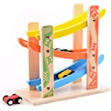 iPuzzle Wooden Ramp Race Track Model with 3 Small Cars