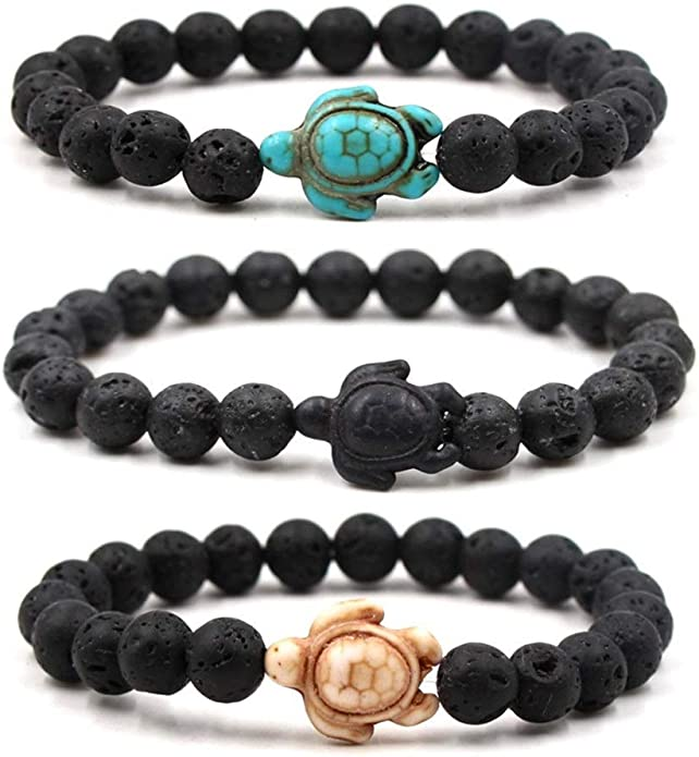 Amazon.com: Caiyao 3pcs Turquoise Sea Turtles Beads Bracelet 8mm Rock Stone  Elastic Stretch Ccean Animal Bracelet for Women Men-3pcs Rock Stone: Jewelry