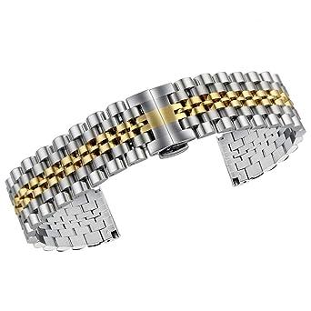 Faltschließe für Uhrenarmband aus Edelstahl Gold oder Silber 20mm 18mm 22mm 24mm