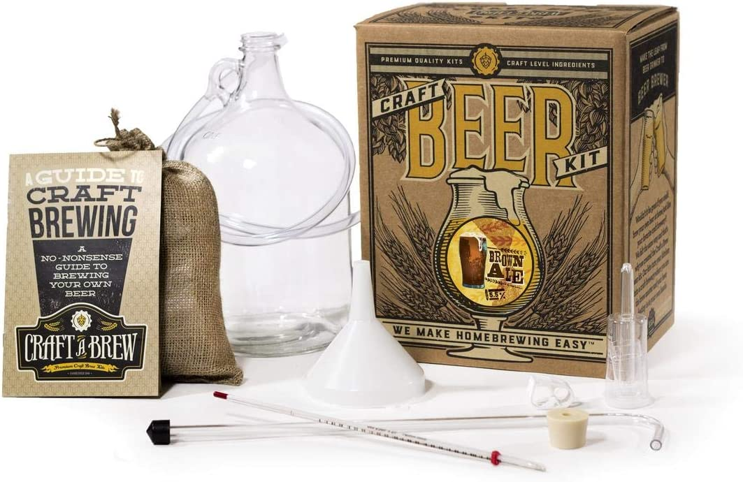 Home Brewing Kit for Beer – Craft A Brew Brown Ale Beer Kit – Reusable Make Your Own Beer Kit – Starter Set 1 Gallon