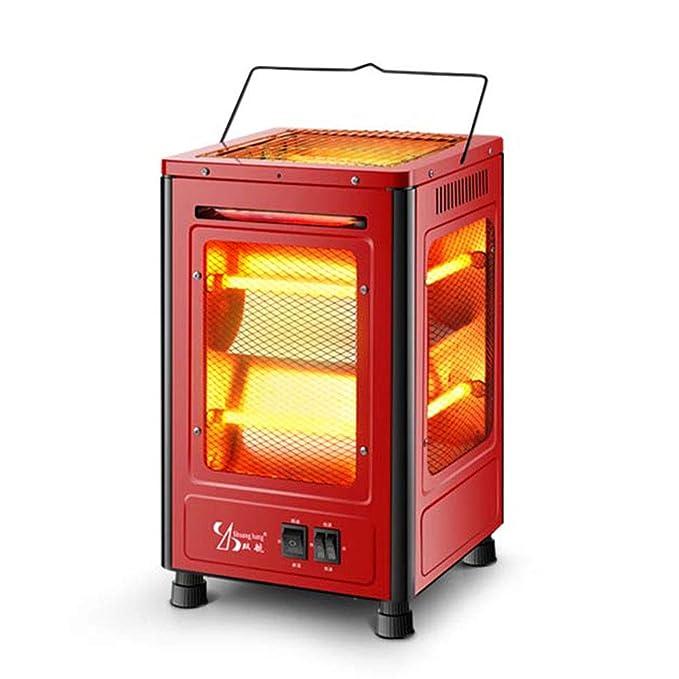HM&DX Infrarrojo Eléctrico Cuarzo Calentador,Silenciosa Radiante Calentador Estufa 2 Ajustes de Calor 5 Lados climatizadas Bajo Consumo Estufa halógena para ...