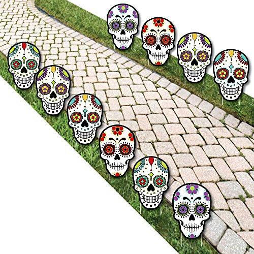 Day of The Dead - Sugar Skull Skeleton Lawn Decorations - Outdoor Halloween Yard Decorations - 10 Piece -