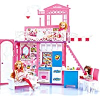 Arkmiido Dream Doll House 2 Story House with Furniture and Accessories Light and Sounds (3 Dolls Inside)