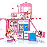 Dream Doll House 2 Story House with Furniture and Accessories -Light and Sounds (3 Dolls Inside)