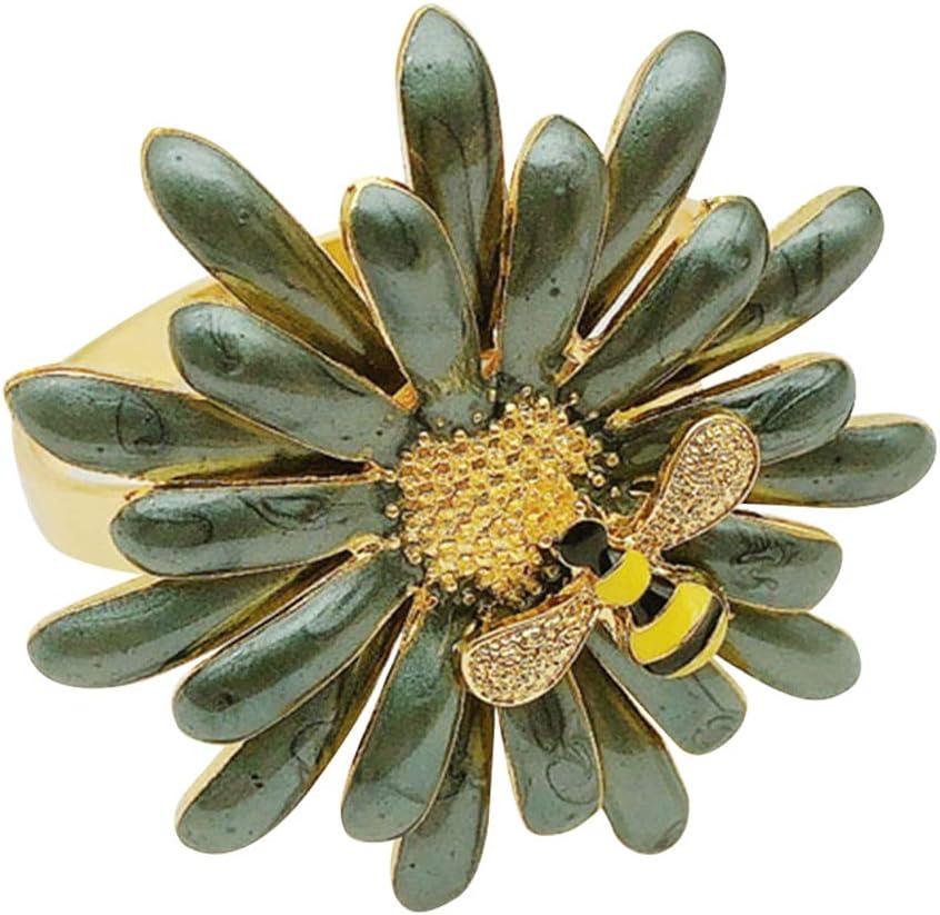 wiederverwendbar G/änsebl/ümchen Party und t/ägliche Dekoration Yunobi Serviettenringe-Set Bienen-Serviettenhalter f/ür Hochzeit Metall