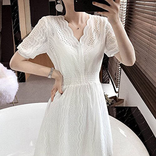 Un Robe MiGMV en Jin Jupe la Taille temprament Moyenne Mot de 95 Petite Blanc Longueur Manches des 105 Douce Robe Femmes S fe Courtes Dentelle YvYfr5qw