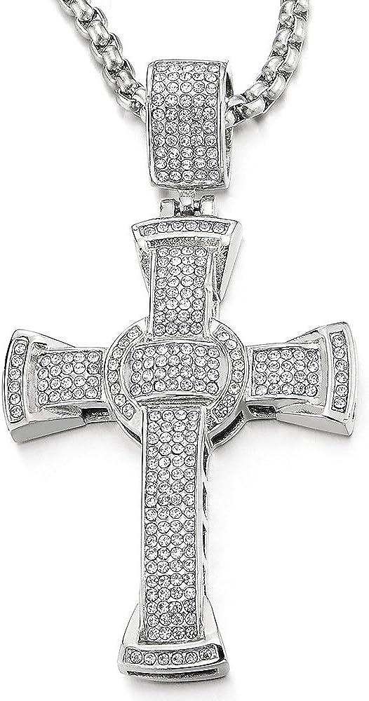 Hombre Mujer Grande de acero dorado cruz colgante con circonita y cadena de cuerda de 30pulgadas