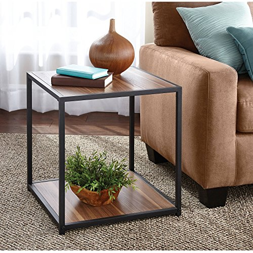 Metro Contemporary Sofa (Metro Side Table Warm Ash Finish Features 2 shelves for additional storage Contemporary side table with warm ash finish and powder-coated metal frame Product Dimensions: 20.125