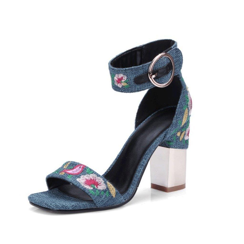 Damen Sandalen SommerBlaumen Bestickt High Heels (Farbe   2 , größe   EU36 UK4 CN36)