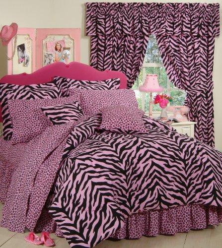 Pink Zebra 6 Pc EXTRA LONG TWIN Comforter Set (Comforter, 1 Flat Sheet, 1 Fitted Sheet, 1 Pillow Case, 1 Sham, 1 Bedskirt) SAVE BIG ON BUNDLING! ()