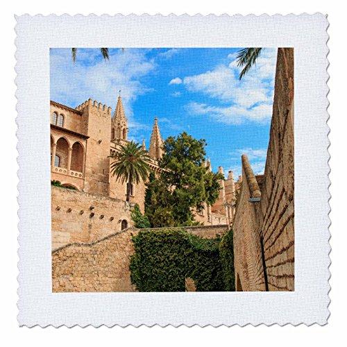 3dRose Danita Delimont - Cities - Spain, Balearic Islands, Mallorca, Palma de Mallorca, stone towers - 12x12 inch quilt square (qs_277905_4) by 3dRose