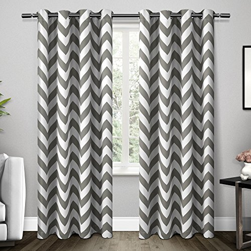 Exclusive Home Mars Woven Room Darkening Thermal Grommet Top Window Curtain Panels, Black Pearl, 52
