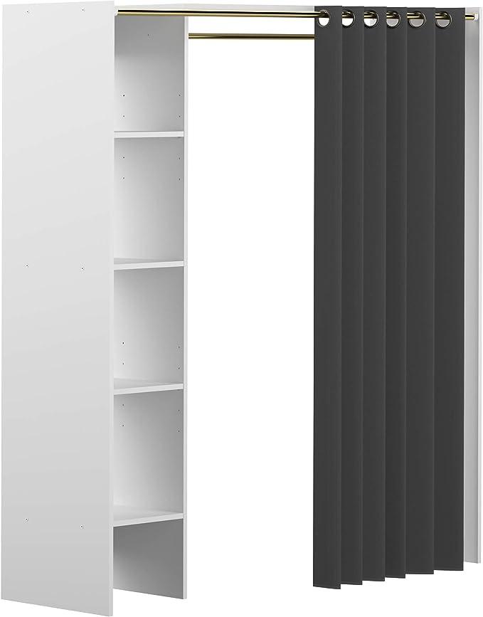 160 cm HABITMOBEL Vestidor almacenaje de Ropa con Cortina Tres baldas y Cajon 203 cm x Fondo 50 cm x Ancho Medidas Alto