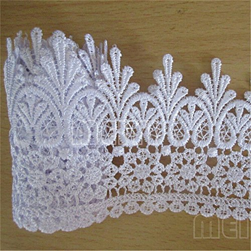 Lace Edge Trim Ribbon 9cm Wide Vintage Style 8 Color Edging Trimmings Fabric Embroidered Applique Sewing Craft Wedding Bridal Dress Embellishment Gift Party Decoration(Pure White) ()
