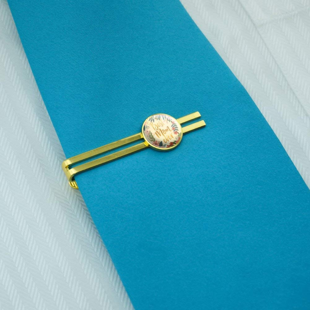 GRAPHICS /& MORE Best Mom Ever Pretty Flowers Mothers Day Round Tie Bar Clip Clasp Tack Gold Color Plated