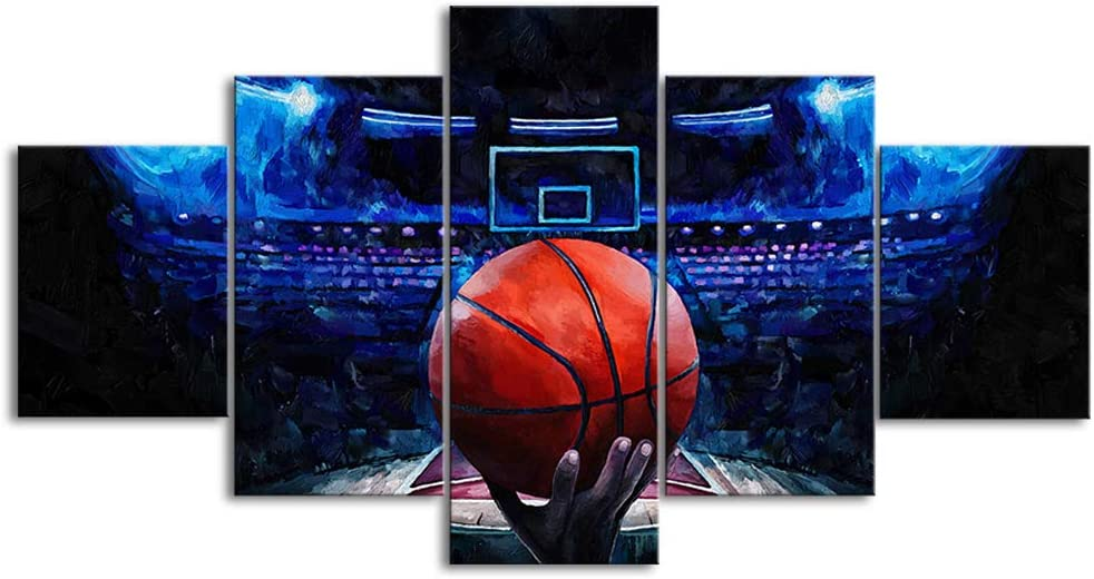 LoveHouse 5 Panel Modern Basketball Canvas Print Sports Wall Art Blue Background Ball Game Painting for Gym Boy Room Bedroom Decor Gallery Wrap Stretched Ready to Hang 60x32inch