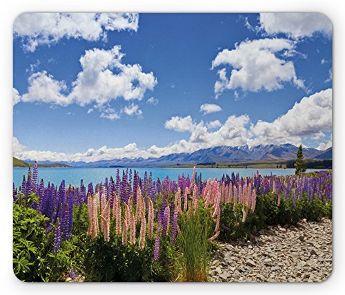 Lunarable Sky Mouse Pad, Floral Design Lupin Wildflowers on the Shore of Lake and Cloudy Sky Digital Print, Standard Size Rectangle Non-Slip Rubber Mousepad, Sky Blue Purple