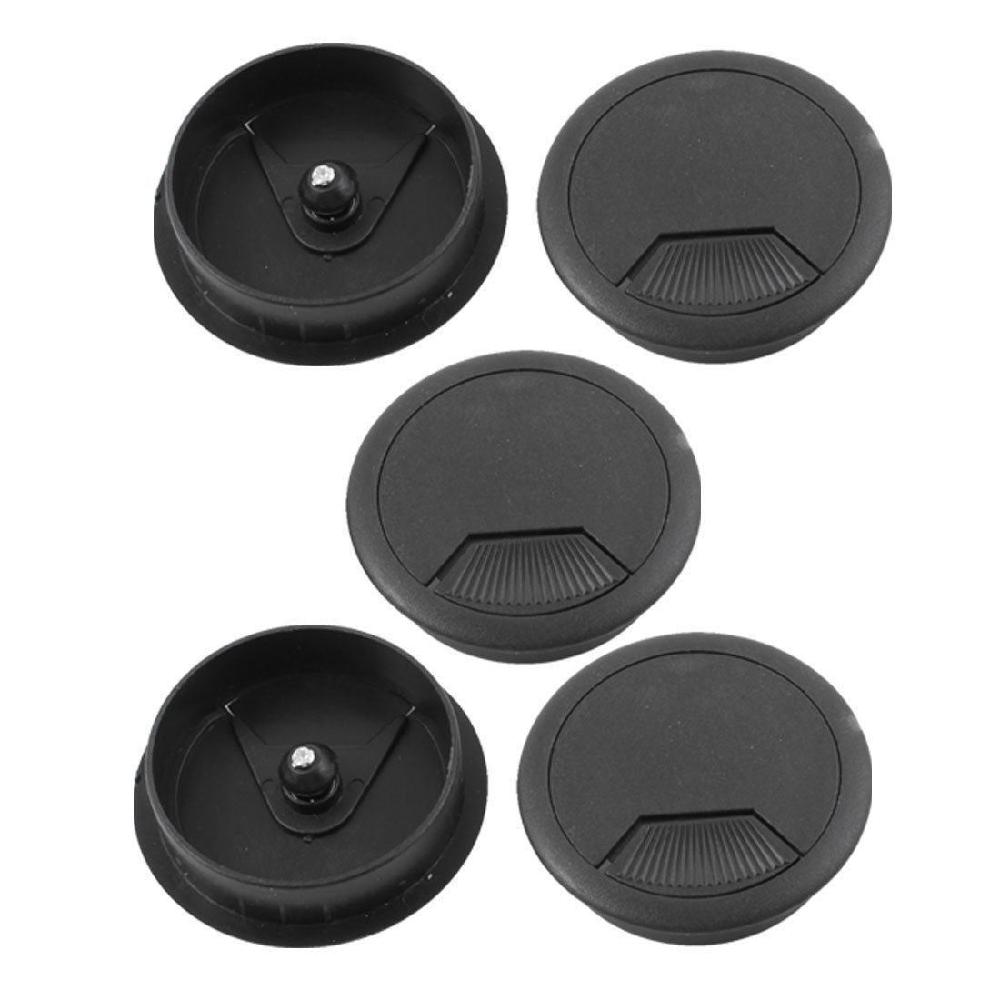 uxcell a13092500ux0347 Plastic Desktop Computer 80mm Grommet Cable Hole Cover Black Plastic Pack of 3