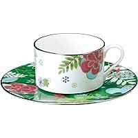 NARUMI(Narumi) 花朵 Paradise 咖啡兼用杯子&盘子 240cc 绿色 51071-21805 日本制造