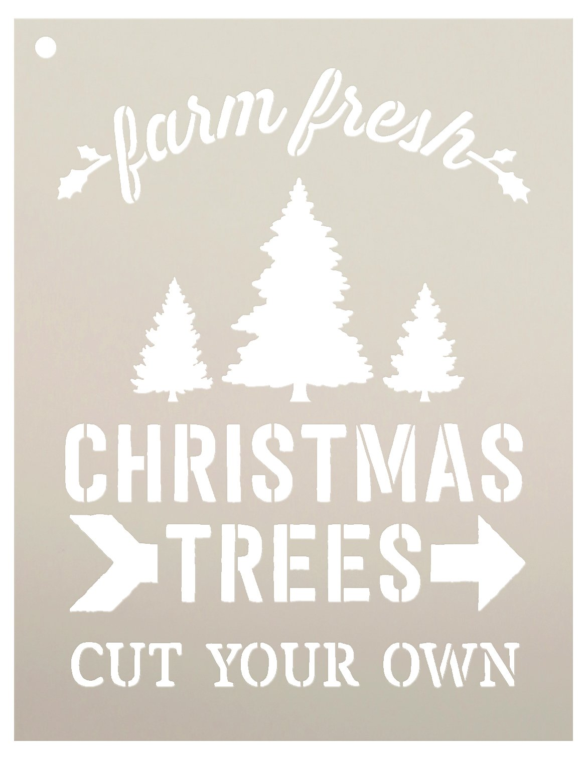Farm Fresh Christmas Trees by StudioR12 | Winter Farm Word Stencil - Reusable Mylar Template | Painting, Chalk, Mixed Media | Use for Wall Art, DIY Home Decor - CHOOSE SIZE (9'' x 11'')