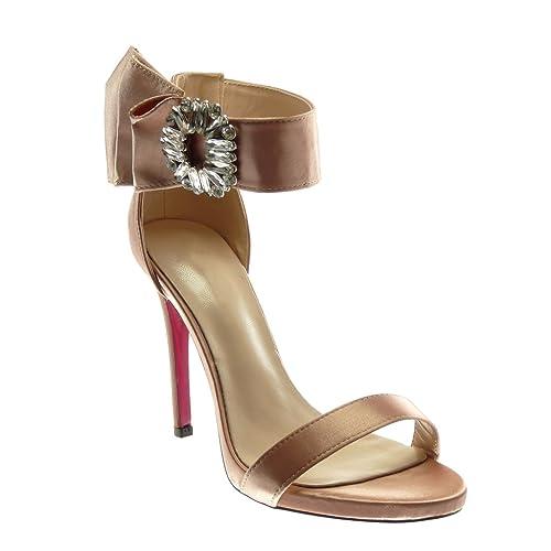 Angkorly - Scarpe Moda Sandali Decollete con Tacco Stiletto con Cinturino  alla Caviglia Donna con Volant d92ab8ae33d
