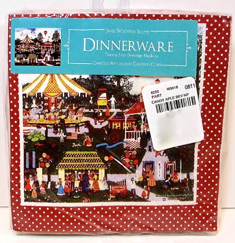 Wooster Candy - Jane Wooster Candy Apple Cocktail Napkin,Carnival,20x,10