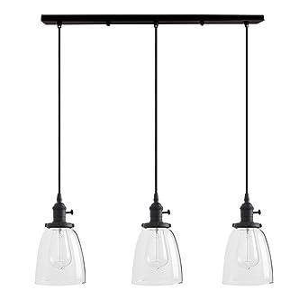 Retro Pendelleuchte Vintage LED Hängelampe schwarz Lampenschirm Glas 14,5cm