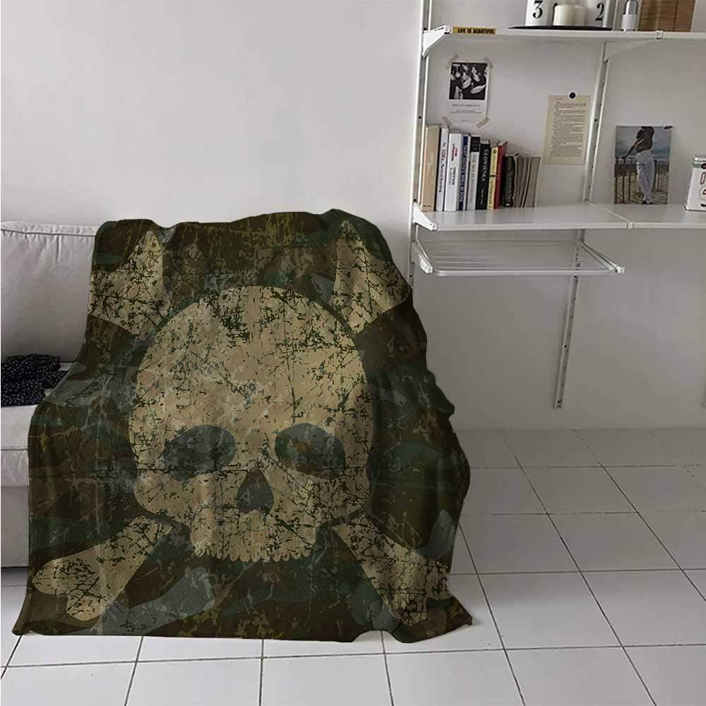 Amazon Com Maisi Camo Warm Microfiber All Season Blanket Abstract Texture With Skull And Crossbones Pattern Aged Rusty Grunge Style Print Artwork Image 60x50 Inch Dark Green Khaki Cream Home Kitchen
