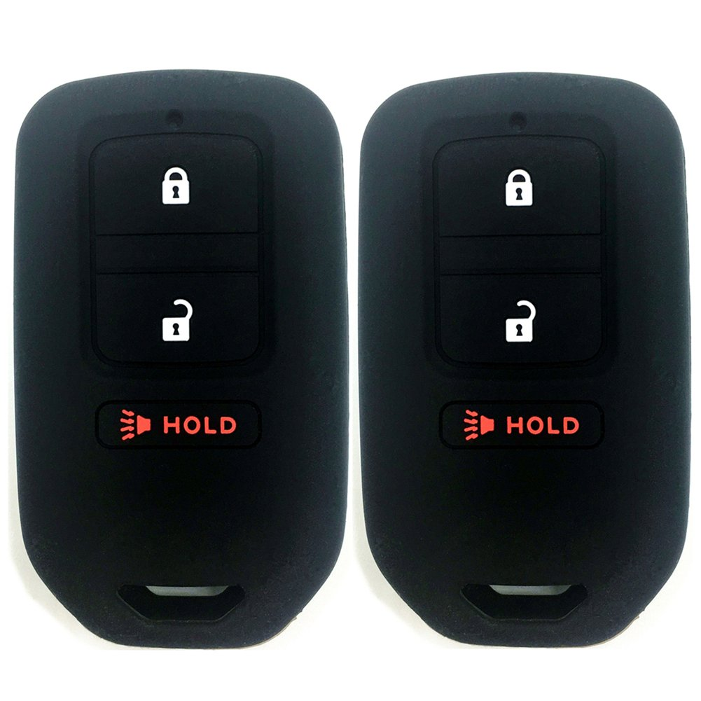 Ezzy Auto Pack 2 Black Silicone Rubber Key Fob Case Key Covers Key Jacket Skin Protectors fit for 2015-2017 Honda Fit HR-V 2013-2015 Honda Crosstour