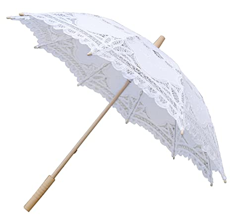 Hecho a mano de encaje de la boda nupcial sombrilla paraguas de algodón decoracion, Blanco