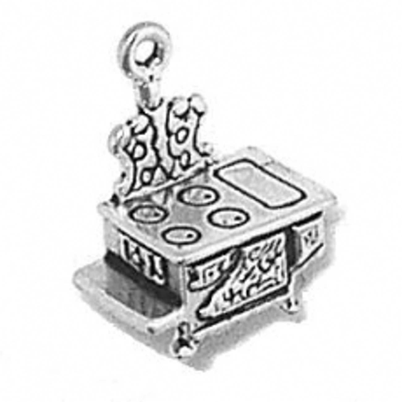 Sterling Silver Charm Bracelet Attached 3D Kitchen Cooks Old Vintage Cast Iron Stove Cooking Charm
