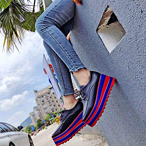 Boden Bequeme Schuhe Schnürer Mode Plateau Low Sneaker Casual High Erhöhen Damen Sneaker Top Schuhe 35 Thick Bottom Sonnena 39 Schwarz Frauen Sie Sole Flach Sportschuhe YAIRqw8
