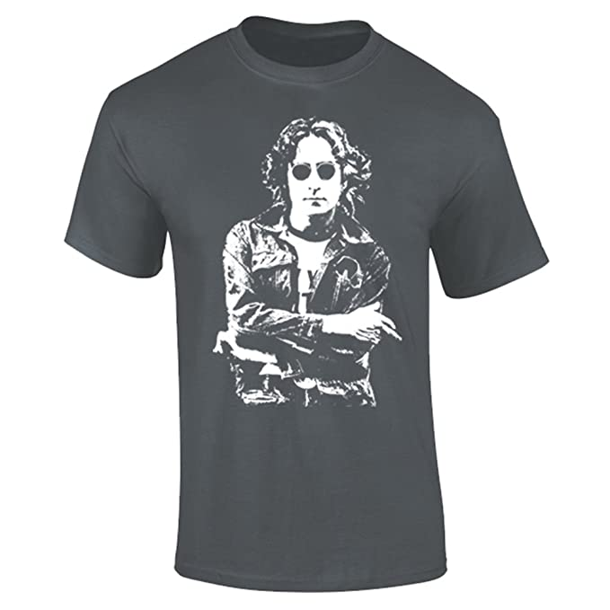 Mens John Lennon Iconic Rock T-shirt Charcoal Grey