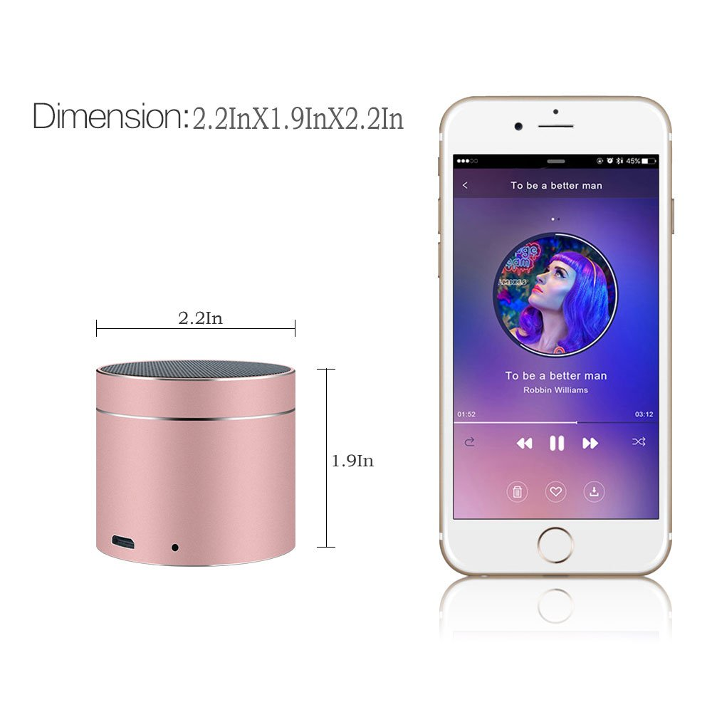 Bluetooth Speakers SEALVIA Wireless Speaker Mini size with Enhanced Bass and Noise-Cancelling Microphone for iPhone6/6S/7/7S android phone iPad Samsung Nexus HTC Laptops (more colors) KT8 (Rose Gold) by SEALVIA (Image #6)