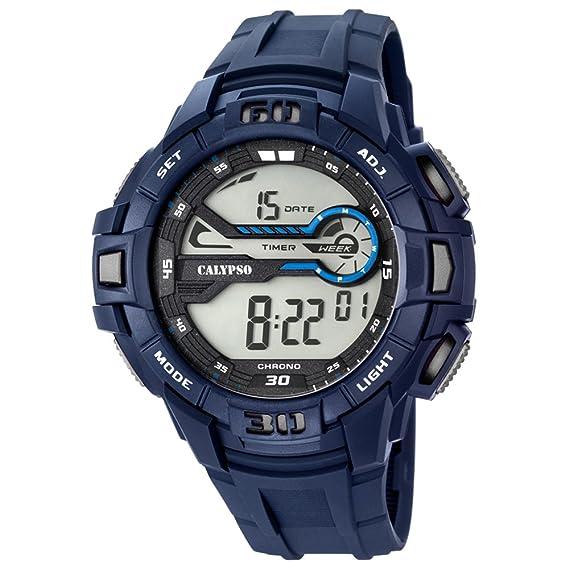 Calypso hombre-reloj deporte digital PU-pulsera azul cuarzo-reloj esfera azul gris UK5695/2: Calypso: Amazon.es: Relojes